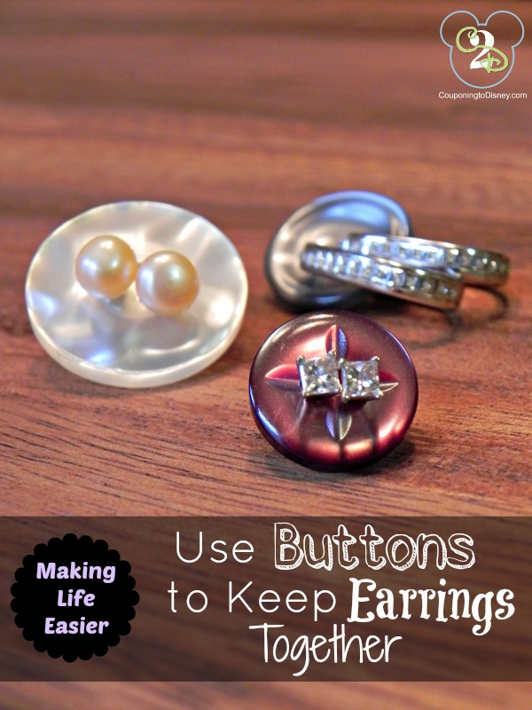 Use Buttons to Keep Earrings Together